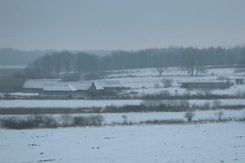 Wikinger Häuser im Schnee. Aufnahme vom Nordwall 21-12-2009