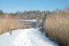 Blick auf die Noorbrücke im Schnee aus Haithabu 06-03-2010