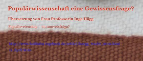 Professorin Inga Hägg - Populärwissenschaft - eine Gewissensfrage?