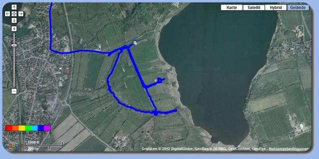 GPS-Spur von meiner Wanderung auf dem Stadtwall von Haithabu - Quelle: (c) Google Maps