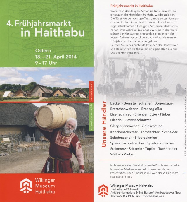 Flyer: 4. Frühjahrsmarkt in Wikinger Museum Haithabu 2014