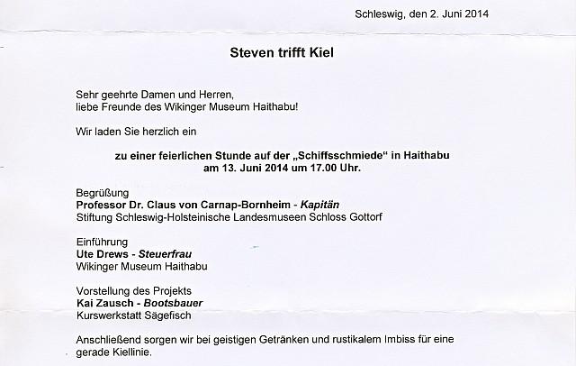 Einladung Steven trifft Kiel in Haithabu